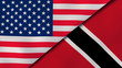 The flags of United States and Trinidad and Tobago. News, reportage, business background. 3d illustration