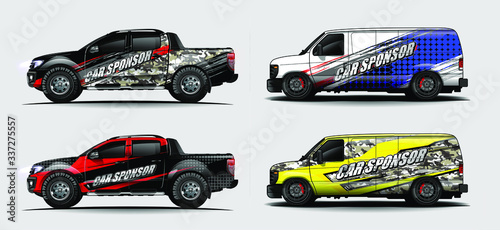 set of vehicle graphic kit vector Canvas Print