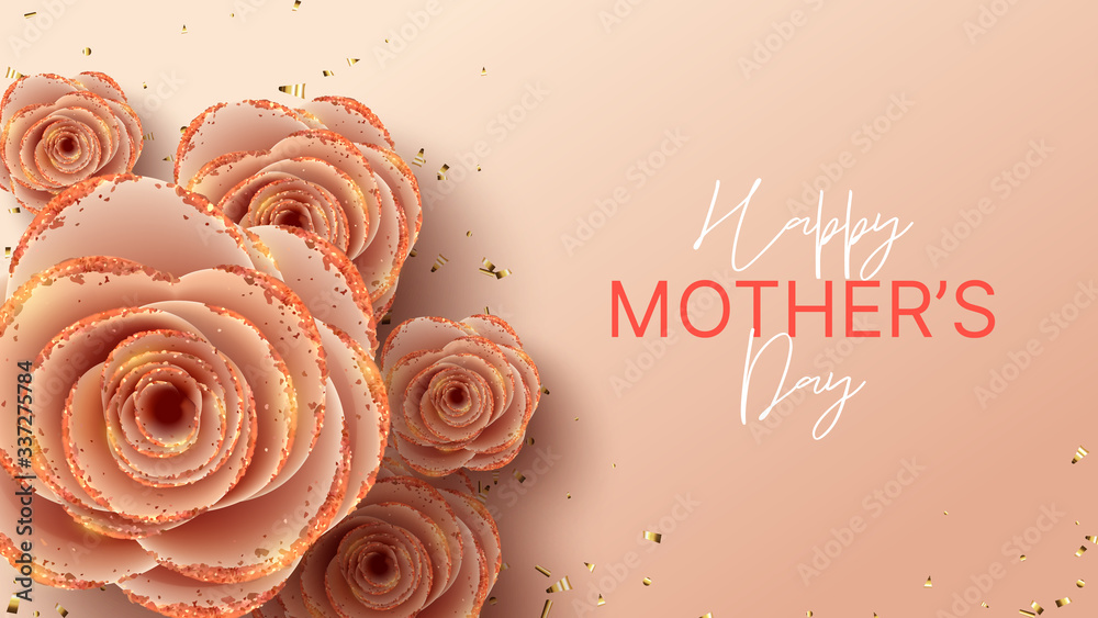 Fototapeta Happy Mother's Day horizontal banner template. Holiday greeting card with realistic 3d gentle flowers with golden sand. Vector illustration with pink paper roses and gold confetti.