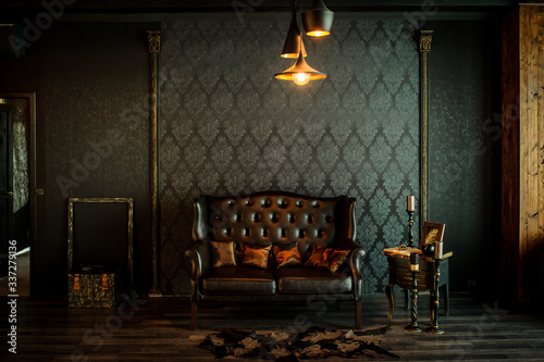 Obraz Old vintage interior with leather sofa - fototapety do salonu