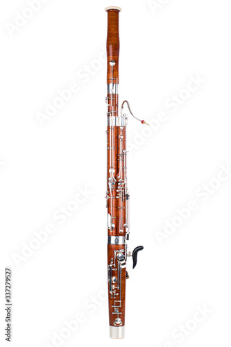 Wooden bassoon isolated on a white background. Music instruments. Canvas Print