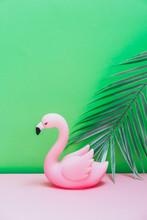 Plastic Flamingo With Palm Lea...