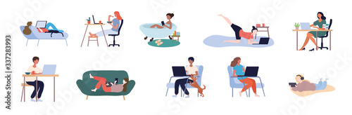 Leinwand Poster Collection of multiethnic people working online from home in different rooms and locations