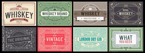 Mega set of 8 vintage labels. Vector layered Fototapeta