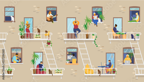 House exterior with people in windows and balconies staying at home and doing different activities: studying, playing guitar, working, doing yoga, cooking, reading Canvas Print