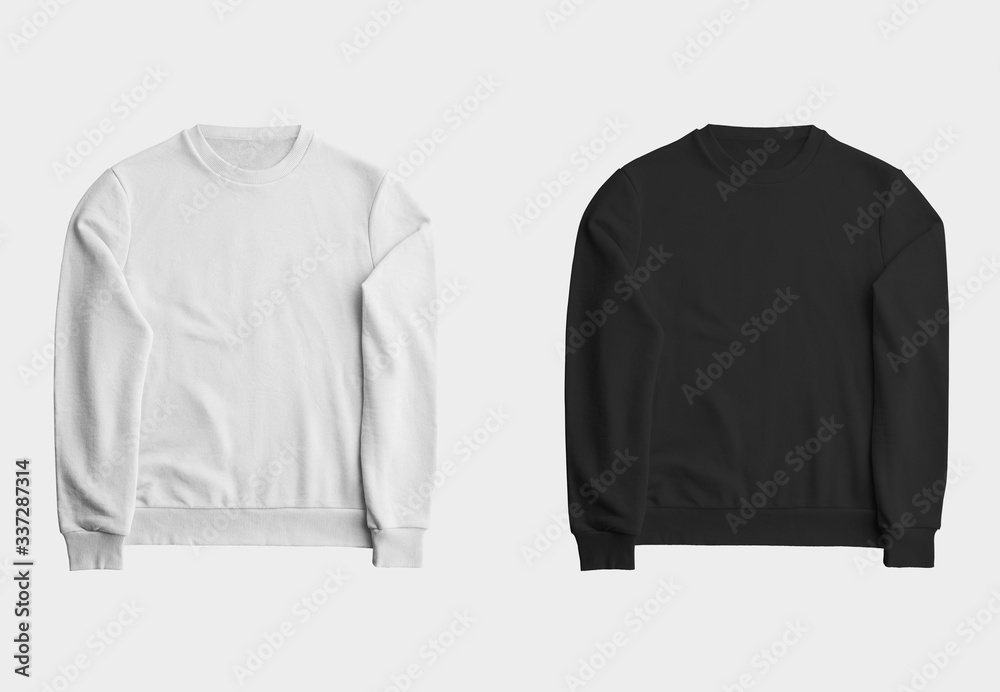Fototapeta Mockup white and black sweatshirt, blank pullover with a long sleeve, for design presentation.