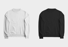 Mockup White And Black Sweatshirt, Blank Pullover With A Long Sleeve, For Design Presentation.