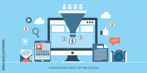 Cuadros en Lienzo Conversion rate optimization, customer conversion, digital sales funnel flat vec