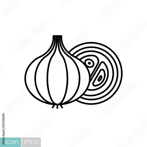 Fototapeta Onion vector icon. Vegetable symbol obraz
