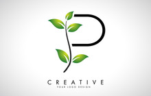 Leaf Letter P Logo Design With...