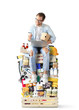 canvas print picture Guy with a laptop and a credit card is sitting on a pile of groceries