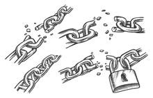 Broken Chain Links. Sketch Of ...