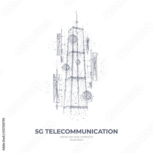 Carta da parati Abstract 3d isolated  5G tower on white