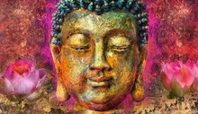 Buddha Face  Abstract Art Pain...