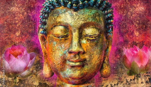 Carta da parati buddha face  abstract art paintings with even some buddha statue landscape image