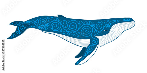 Fotomurales - Wild Whale with Ethnic Ornaments