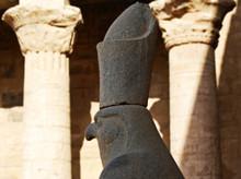 Ancient Egyptian Statue Of Falcon God Horus At The Temple Of Edfu. Nubia, Egypt