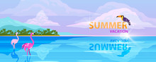 Horizontal Summer Banner With ...