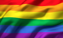 Rainbow Flag Blowing In The Wind. Full Page LGBT Flying Flag. 3D Illustration.
