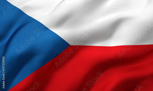 Flag of Czech Republic blowing in the wind Canvas-taulu