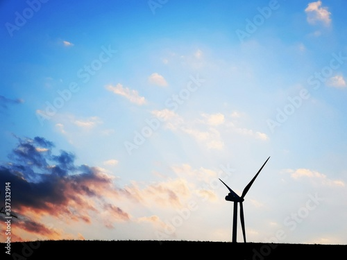wind turbine at sunset Canvas Print