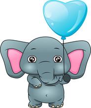 Cute Elephant Holding A Balloon
