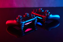 Sony Playstation 4 (PS4) DualShock 4 Controller, Videogame Joystick Or Gamepad On A Table. Close Up Studio Shot. Game Concept