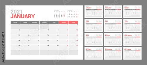 Wall calendar template for 2021 year Canvas Print