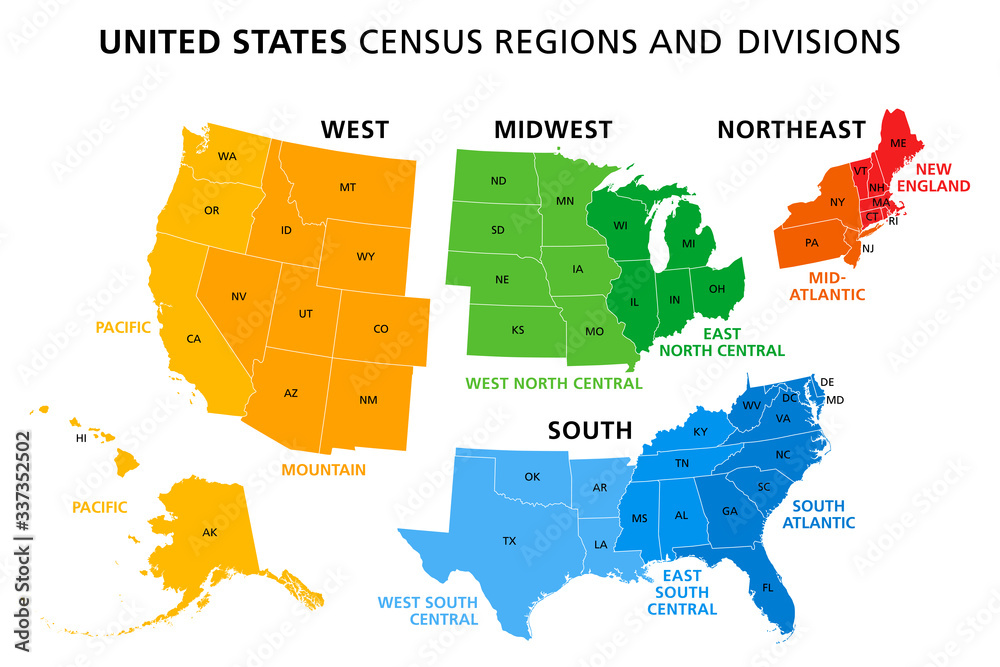 Fototapeta Map of United States split into Census regions and divisions. Region definition, widely used for data collection and analysis. Most commonly used classification system. English. Illustration. Vector