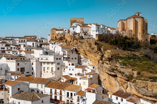 Leinwand Poster White houses in Setenil de las Bodegas small town, Spain
