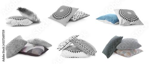 Cuadros en Lienzo Set of different pillows on white background. Banner design
