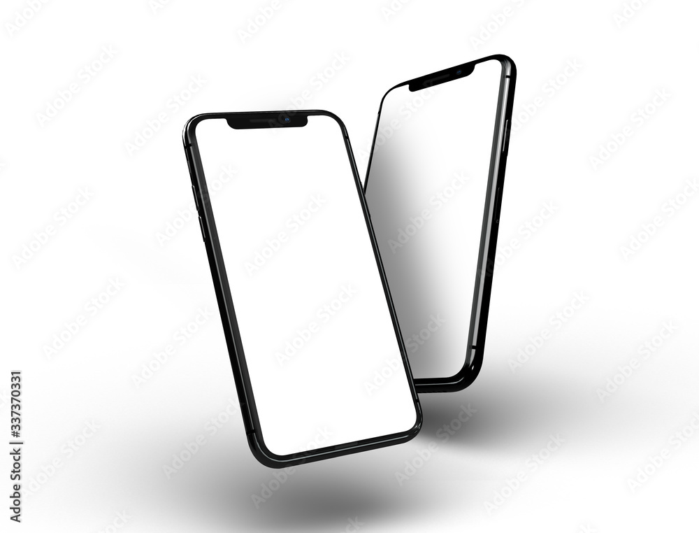Fototapeta Bangkok, Thailand - Sep 4, 2019: Smartphone frameless mockup. Studio shot of Smartphone iPhone 11 Pro Max with blank screen for Infographic Global Business web site design app -include clipping pat