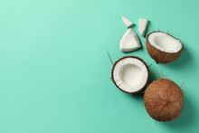 Coconut On Mint Background, To...