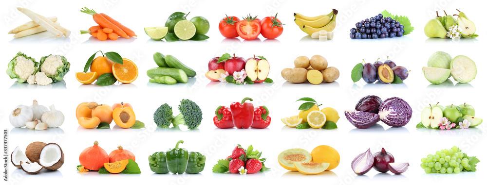 Fototapeta Fruits vegetables collection isolated apple apples oranges garlic tomatoes banana colors fresh fruit