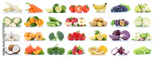Foto Fruits vegetables collection isolated apple apples oranges garlic tomatoes banan
