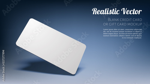 Realistic Floating Business Branding Card Template Mockup with Transparent Shadows on Dark Blue Background. Vector illustration #337377994