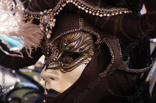 VENICE / ITALY - February 6 2016: Carnival performers participate this event in Piazza San Marco in Venice, Italy Canvas Print