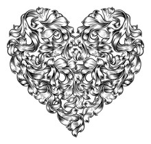 A Love Heart Shape Pattern Floral Vintage Style Woodcut Etching Engraving Design. A Valentines Or Mothers Day Drawing Concept