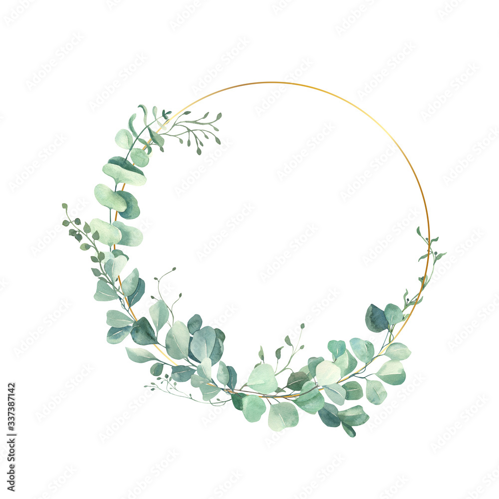 Fototapeta Watercolor hand painted leaves frame.Watercolor floral illustration with branches -  for wedding invite, stationary, greetings, wallpapers, background.