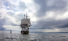 Sailing Ship On The Sea Under ...