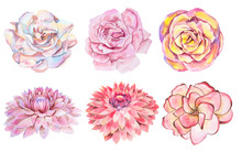 Set Of Six Watercolor Handmade...
