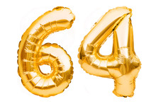 Number 64 Sixty Four Made Of Golden Inflatable Balloons Isolated On White. Helium Balloons, Gold Foil Numbers. Party Decoration, Anniversary Sign For Holidays, Celebration, Birthday, Carnival