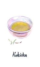 Watercolor Illustration, Japanese Tea, Kukicha Tea