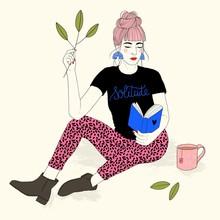 Illustration Of Woman Reading ...