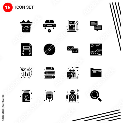 Платно 16 Creative Icons Modern Signs and Symbols of strategy, file, fuel, document, co