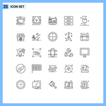 25 User Interface Line Pack Of Modern Signs And Symbols Of Interior, Drawer, Premiere, Cupboard, Marketing