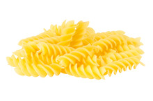Heap Of Spiral Pasta Isolated On White Background.