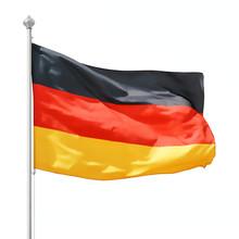 German Flag On Flagpole Isolat...