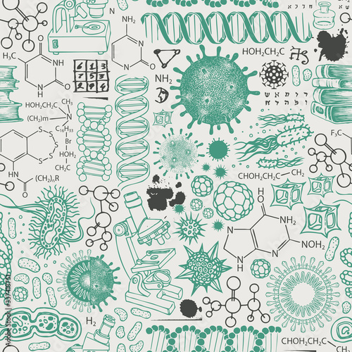 Photo Vector seamless pattern on the theme of chemistry, biology, genetics, medicine