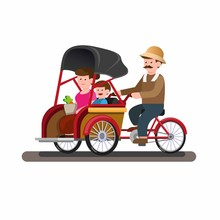 Becak Or Trickshaw Indonesian ...